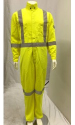 GT.5858 TecaSafe Plus 7oz. Permanent Fire & Arc Resistant Unlined Coverall with Silver Stripes