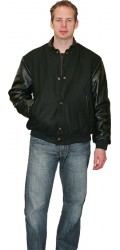 MJ.2328 Melton &amp; Leather Bomber Jacket
