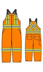 """SH.702AU  UltraSoft FR Unlined Bib Overall with FR T4 Sew-On Reflective Silver and Hi-Viz Yellow 4"""" Stripes"""