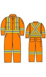 """SH.717U UltraSoft Permanent FR Unlined Coverall with FR T4 Sew-On Reflective Silver and Hi-Viz Yellow 4"""" Stripes"""