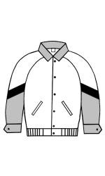 MJ.3417 Melton & Leather Jacket With Raglan Sleeves